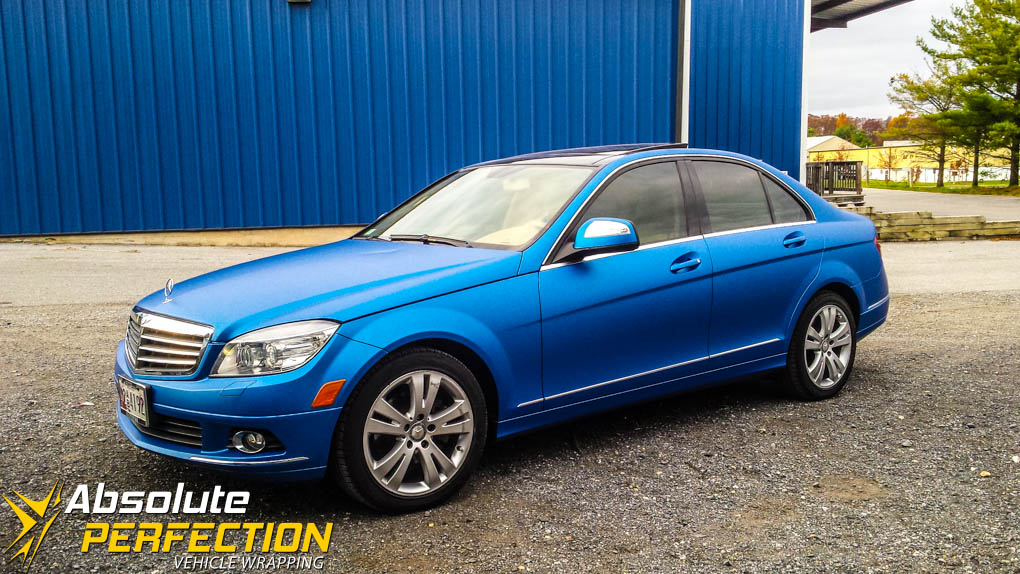 3m Matte Blue Metallic Wrap Mercedes Ap Vehicle Wrapping