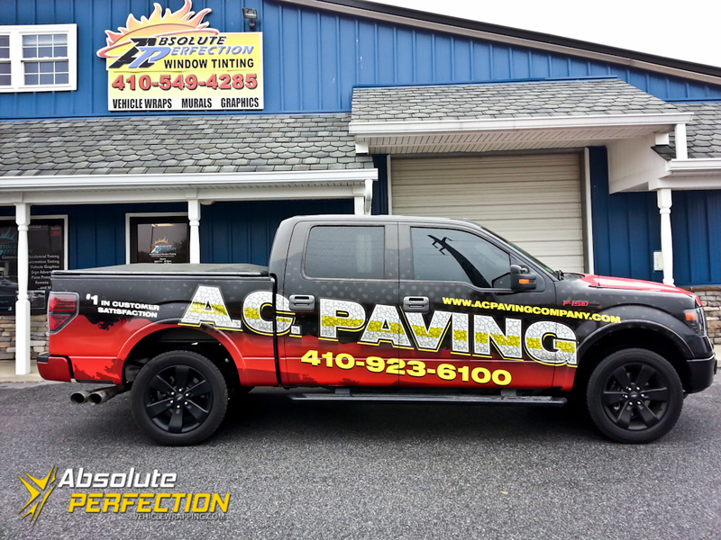 Ac Paving Pickup Truck Wrap Annapolis Maryland Vehicle Wrapping