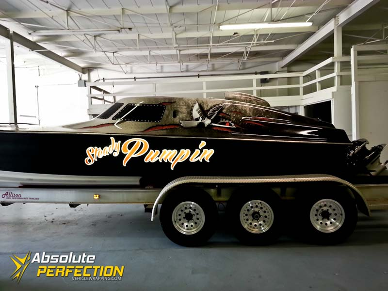 Steady Pumpin Vinyl Boat Wrap Ap Vehicle Wrapping