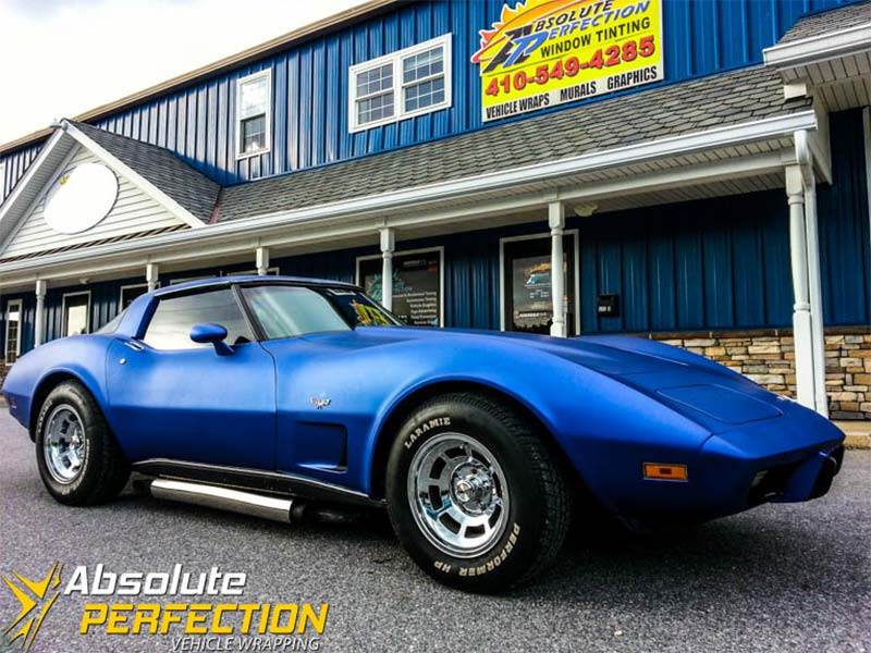 3m Matte Blue Metallic Corvette Vehicle Wrap Maryland