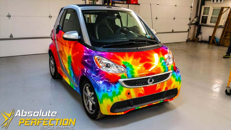 Tie Dye Smart Car Silver Spring Maryland Vehicle Wrapping