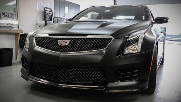 Black Satin Vehicle Wrap on a Cadillac