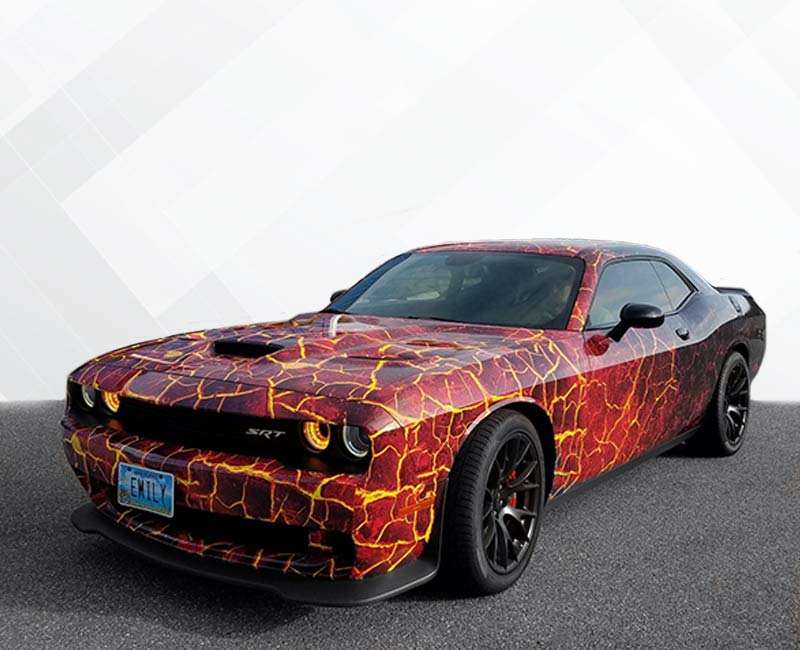 Custom Vehicle Wraps Lava Hellcat