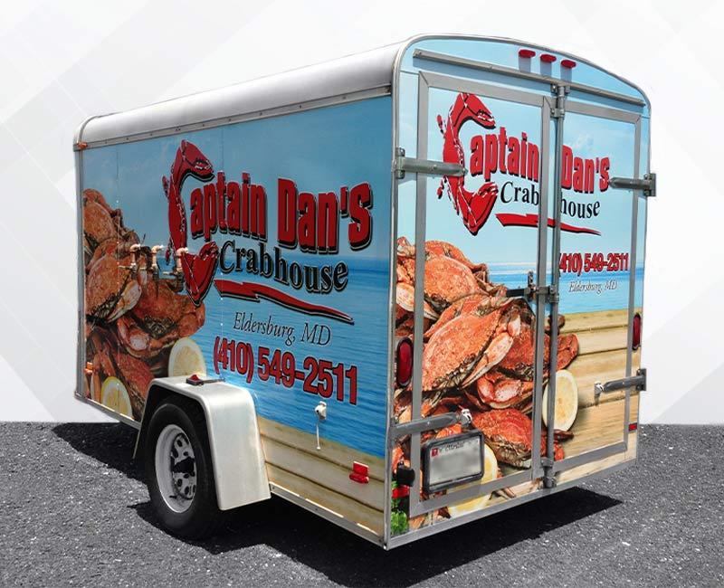 Large Trailer Advertising Wrap captain dan crabs