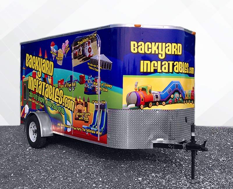 Trailer Advertising Wrap backyard inflatables