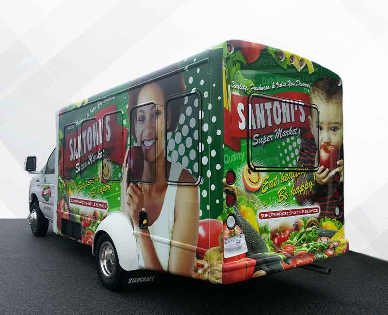 advertising food truck bus wrap