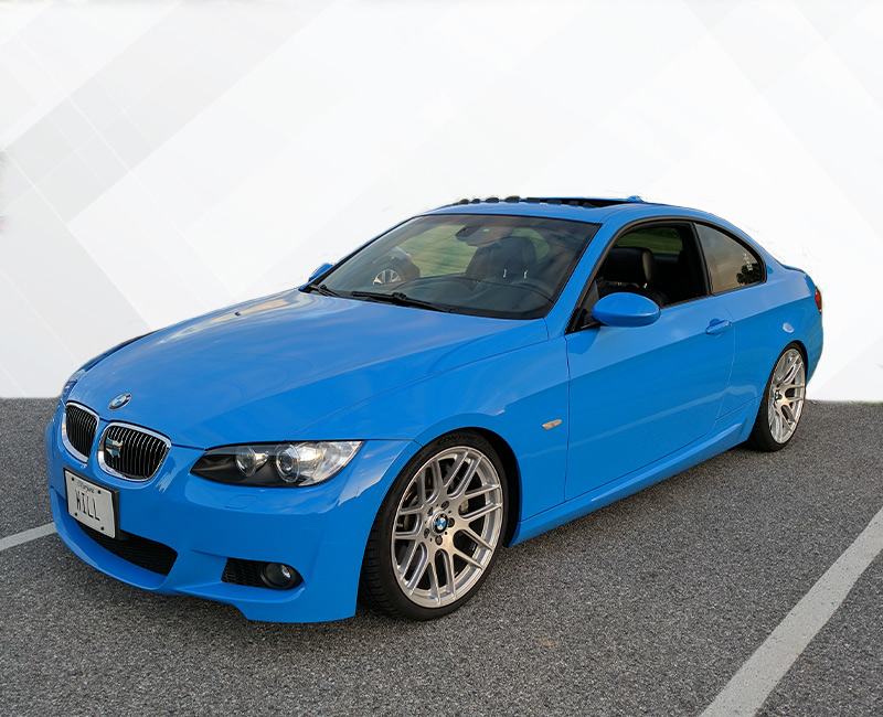 color change wrap blue BMW