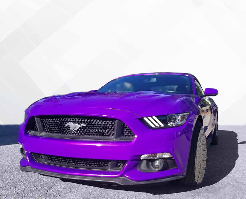 color change wrap purple mustang