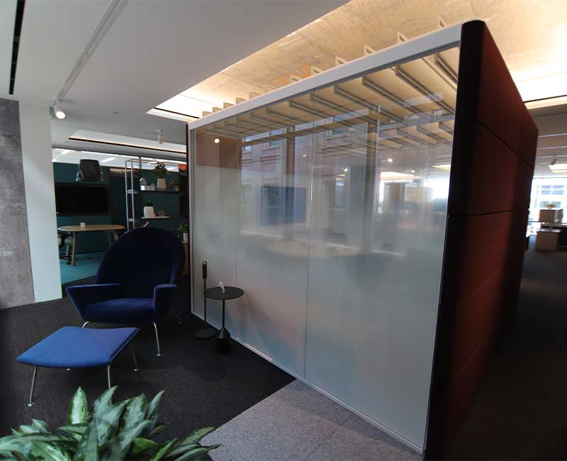 commercial conference pod privacy frost window film