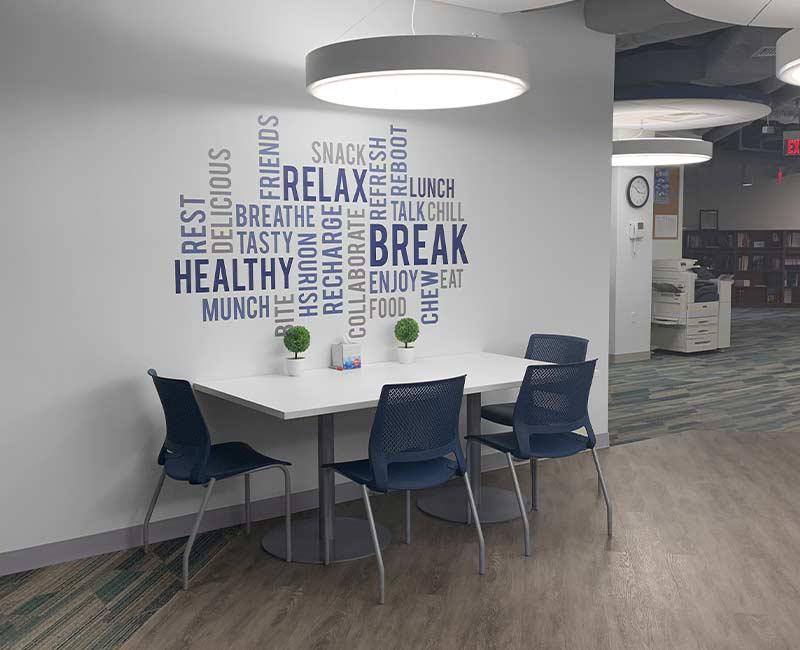 commercial wall graphics cafeteria break room