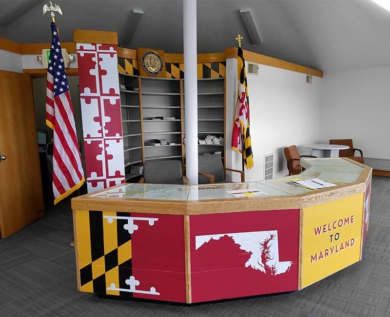 custom printed uv desk advertisement visitor center