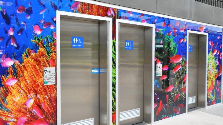 Wall Graphics wrap around Elevator Doors
